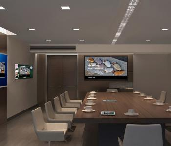 photo of a conference room with two tv's in it