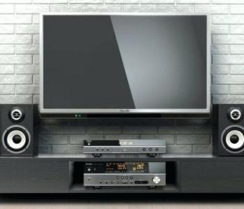 image of a tv with a surround sound system around it